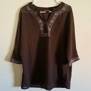 Rock&Roll Cowgirl Large brown sheer blouse